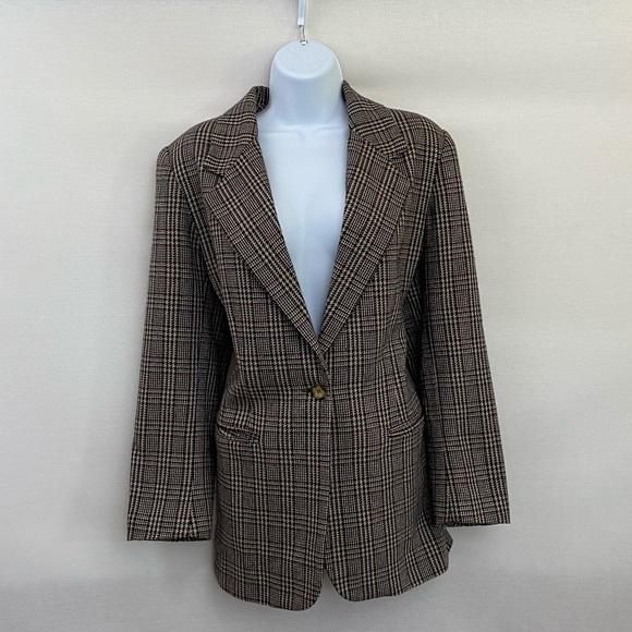Leslie Fay Wool Blend Plaid Blazer Size 12P M-14